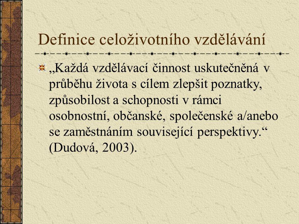 """Definice celoživotního vzdělávání """"Každá vzdělávací činnost uskutečněná v průběhu života s cílem zlepšit poznatky, způsobilost a schopnosti v rámci os"""