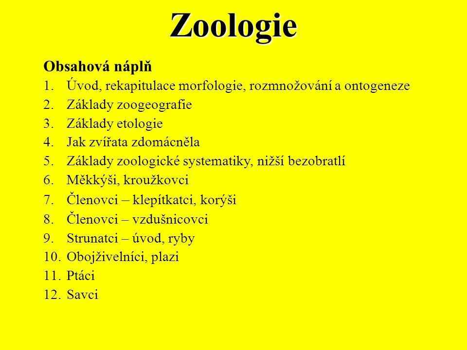 Zoologie Obsahová náplň 1.Úvod, rekapitulace morfologie, rozmnožování a ontogeneze 2.Základy zoogeografie 3.Základy etologie 4.Jak zvířata zdomácněla