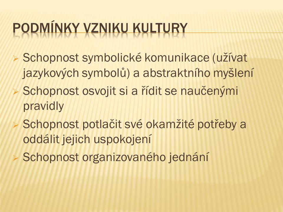  Schopnost symbolické komunikace (užívat jazykových symbolů) a abstraktního myšlení  Schopnost osvojit si a řídit se naučenými pravidly  Schopnost
