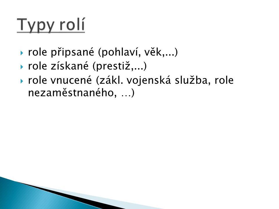  role připsané (pohlaví, věk,...)  role získané (prestiž,...)  role vnucené (zákl. vojenská služba, role nezaměstnaného, …)