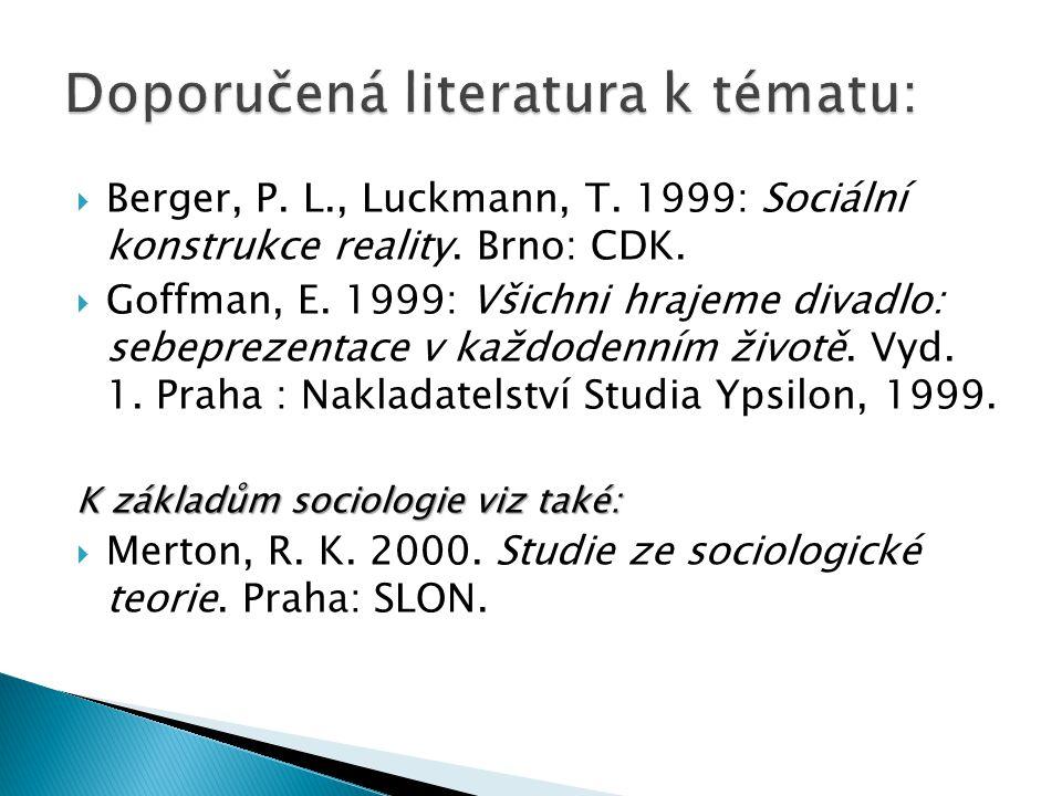  Berger, P. L., Luckmann, T. 1999: Sociální konstrukce reality. Brno: CDK.  Goffman, E. 1999: Všichni hrajeme divadlo: sebeprezentace v každodenním
