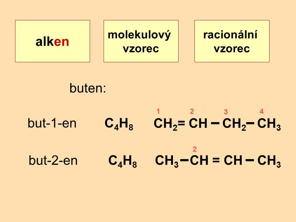 racionální vzorec alken molekulový vzorec but-1-enC4H8C4H8 CH 2 = CH CH 2 CH 3 but-2-enC4H8C4H8 CH 3 CH = CH CH 3 buten: 12 3 4 2