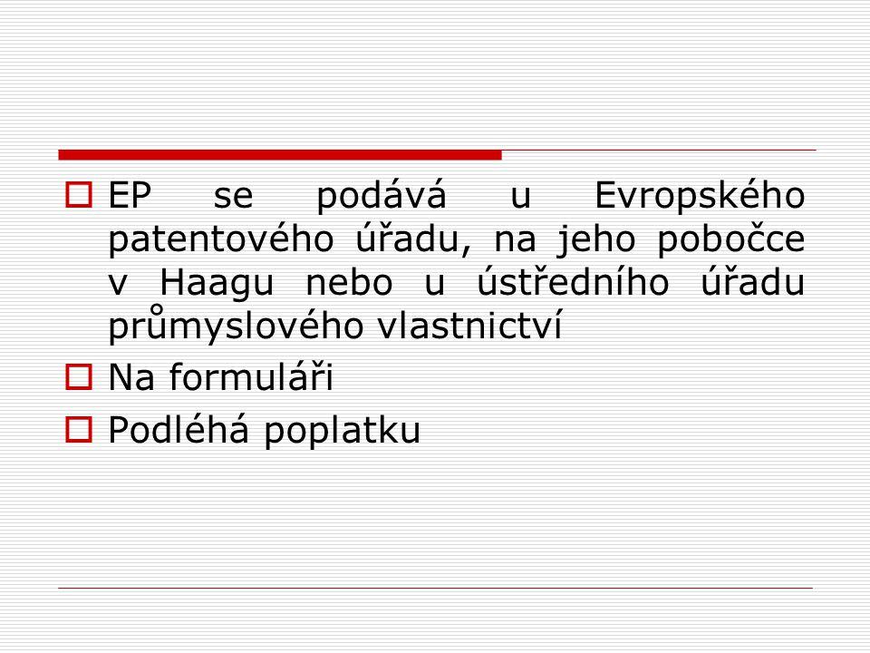  Několik částí řízení: 1.Průzkum přihlášky, zpráva o evropské rešerši, zveřejnění přihlášky a rešeršní zprávy 2.Věcný průzkum patentovatelnosti a udělení EP 3.Řízení o odporu