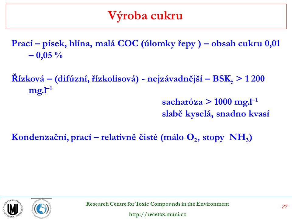 27 Research Centre for Toxic Compounds in the Environment http://recetox.muni.cz Prací – písek, hlína, malá COC (úlomky řepy ) – obsah cukru 0,01 – 0,