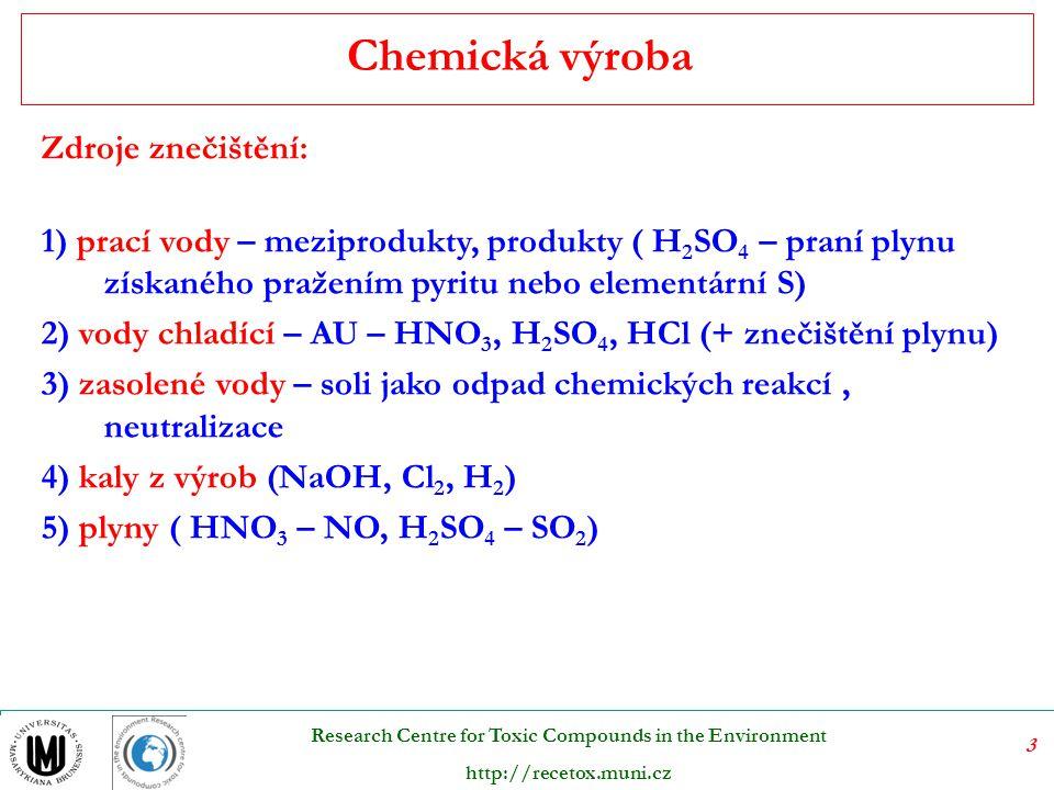 14 Research Centre for Toxic Compounds in the Environment http://recetox.muni.cz Výroba buničiny Používají se kyselé, alkalické a neutrální roztoky  štěpení ligninu na různé fragmenty původní makromolekuly.