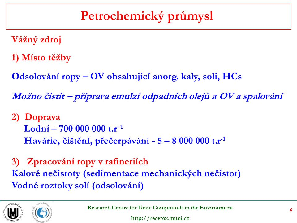10 Research Centre for Toxic Compounds in the Environment http://recetox.muni.cz Petrochemický průmysl