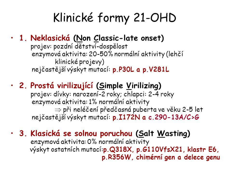 Klinické formy 21-OHD 1. Neklasická (Non Classic-late onset) projev: pozdní dětství-dospělost enzymová aktivita: 20-50% normální aktivity (lehčí klini