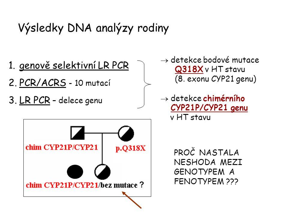 Výsledky DNA analýzy rodiny PROČ NASTALA NESHODA MEZI GENOTYPEM A FENOTYPEM ??? 1.genově selektivní LR PCR 2.PCR/ACRS - 10 mutací 3.LR PCR – delece ge