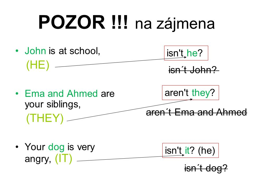 POZOR !!! na zájmena John is at school, (HE) Ema and Ahmed are your siblings, (THEY) Your dog is very angry, (IT) isn't he? isn´t John? aren't they? a