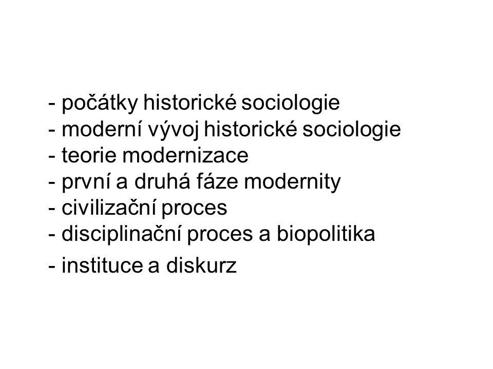 - počátky historické sociologie - moderní vývoj historické sociologie - teorie modernizace - první a druhá fáze modernity - civilizační proces - disciplinační proces a biopolitika - instituce a diskurz