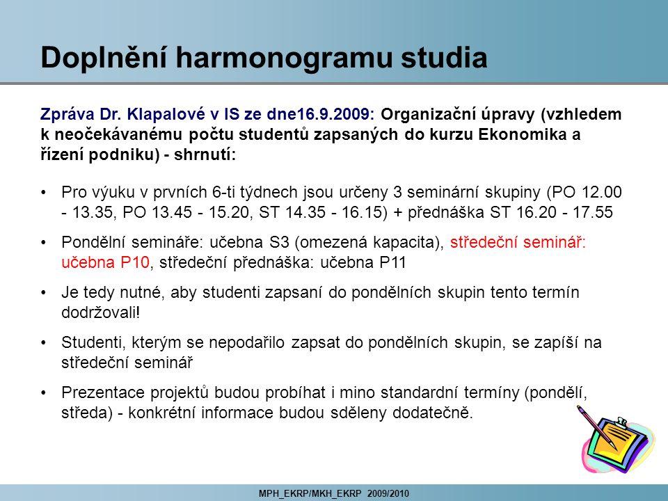 MPH_EKRP/MKH_EKRP 2009/2010 Doplnění harmonogramu studia Zpráva Dr.