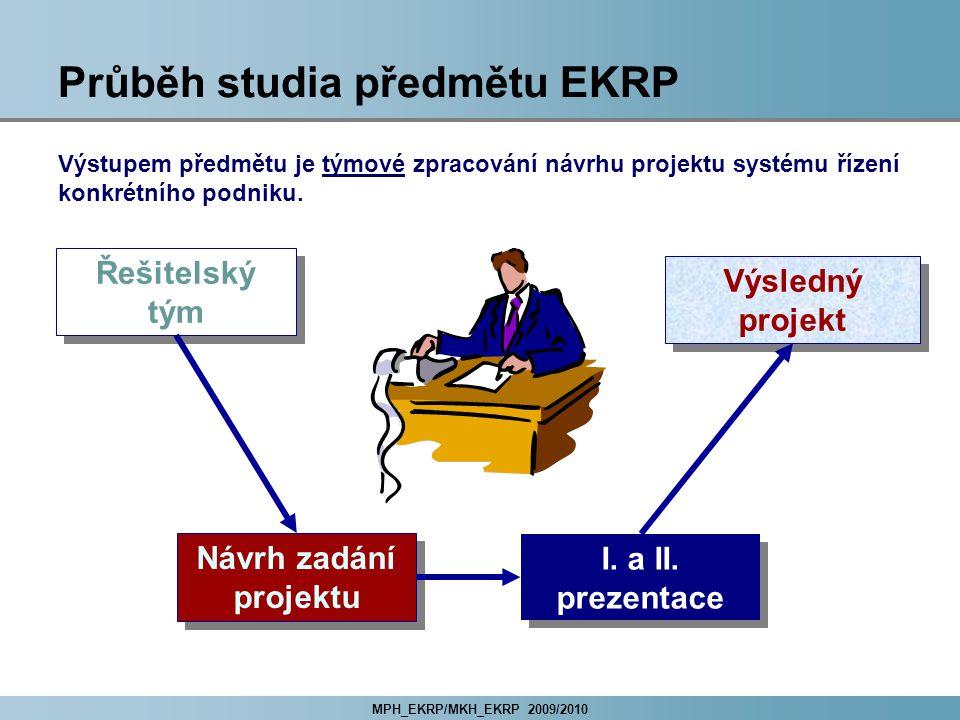 MPH_EKRP/MKH_EKRP 2009/2010 Průběh studia předmětu EKRP Řešitelský tým Návrh zadání projektu Výsledný projekt I.