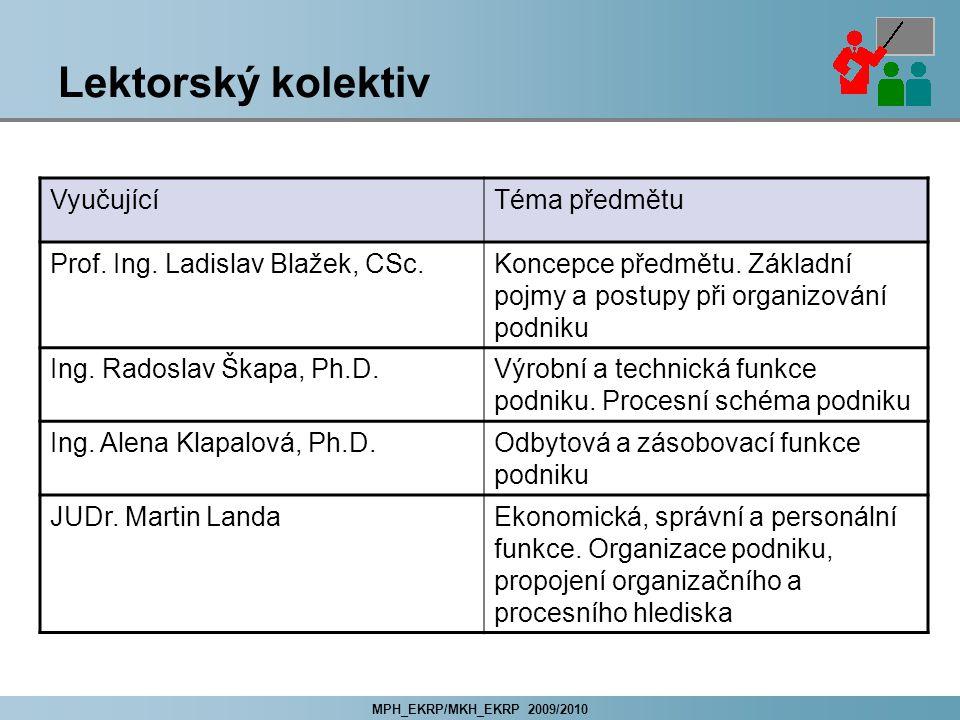 MPH_EKRP/MKH_EKRP 2009/2010 Lektorský kolektiv VyučujícíTéma předmětu Prof.
