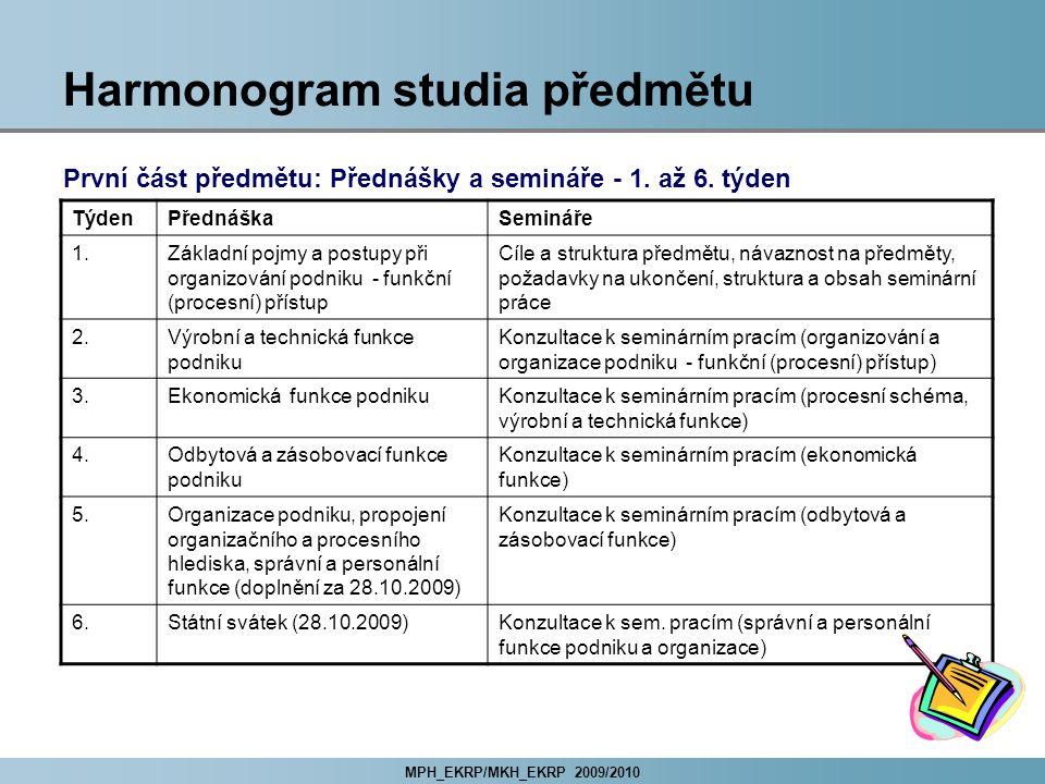 MPH_EKRP/MKH_EKRP 2009/2010 Harmonogram studia předmětu První část předmětu: Přednášky a semináře - 1.