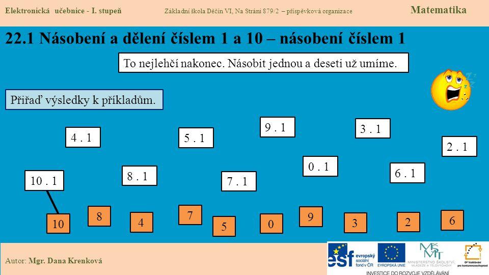 22.1 Násobení a dělení číslem 1 a 10 – násobení číslem 1 Elektronická učebnice - I.