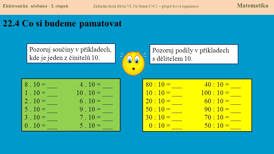 22.5 Násobení nulou Elektronická učebnice - I.