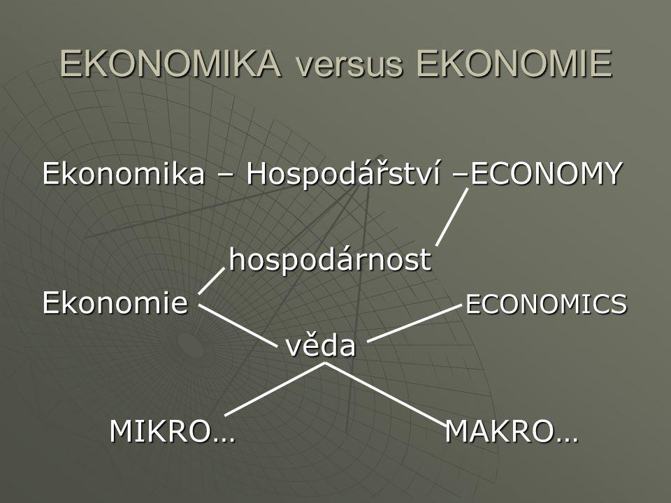 EKONOMIKA versus EKONOMIE Ekonomika – Hospodářství –ECONOMY hospodárnost Ekonomie ECONOMICS věda MIKRO…MAKRO…