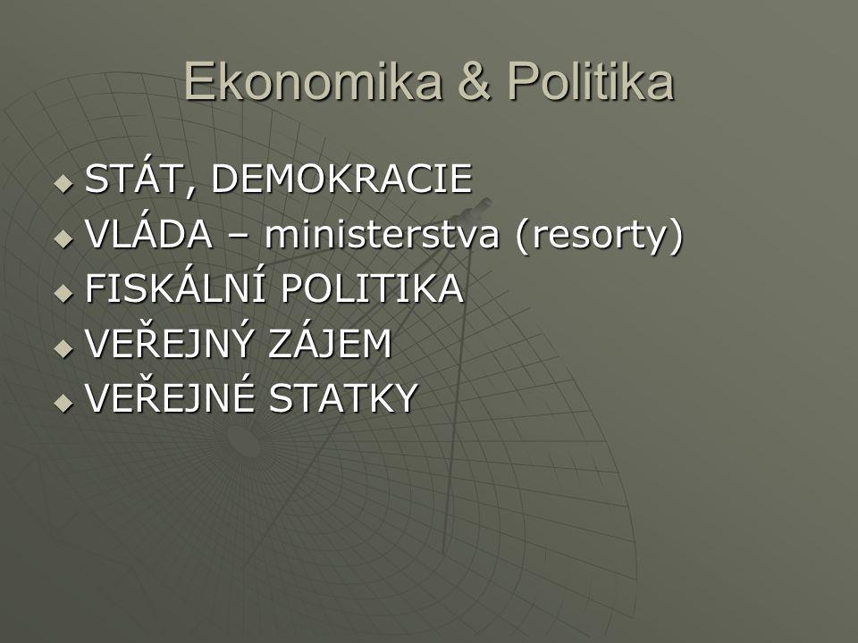 Ekonomika & Politika  STÁT, DEMOKRACIE  VLÁDA – ministerstva (resorty)  FISKÁLNÍ POLITIKA  VEŘEJNÝ ZÁJEM  VEŘEJNÉ STATKY