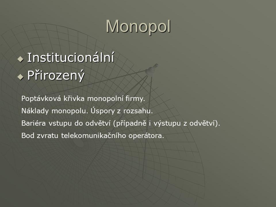 Monopol  Institucionální  Přirozený Poptávková křivka monopolní firmy. Náklady monopolu. Úspory z rozsahu. Bariéra vstupu do odvětví (případně i výs