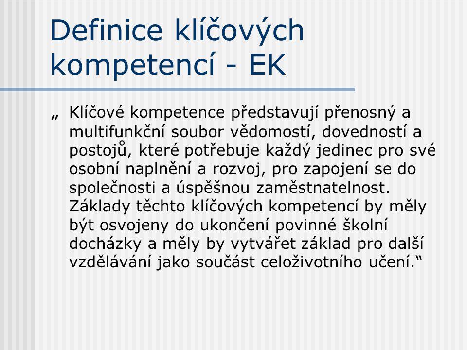 """Definice klíčových kompetencí - EK """" Klíčové kompetence představují přenosný a multifunkční soubor vědomostí, dovedností a postojů, které potřebuje ka"""