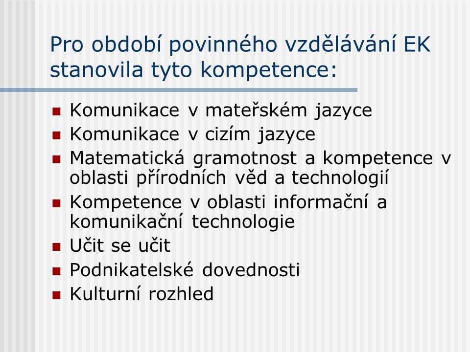 Pro období povinného vzdělávání EK stanovila tyto kompetence: Komunikace v mateřském jazyce Komunikace v cizím jazyce Matematická gramotnost a kompete