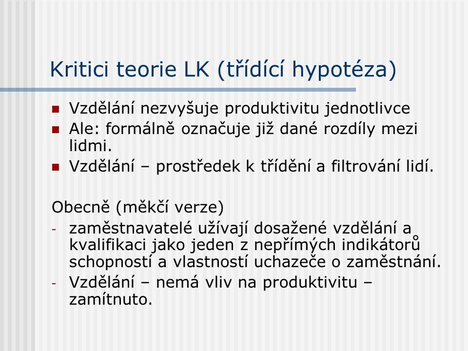 Definice LK LK – znalosti, dovednosti a vlastnosti jednotlivců, které přispívají k vytváření osobní spokojenosti, společenského blaha a ekonomické prosperity.