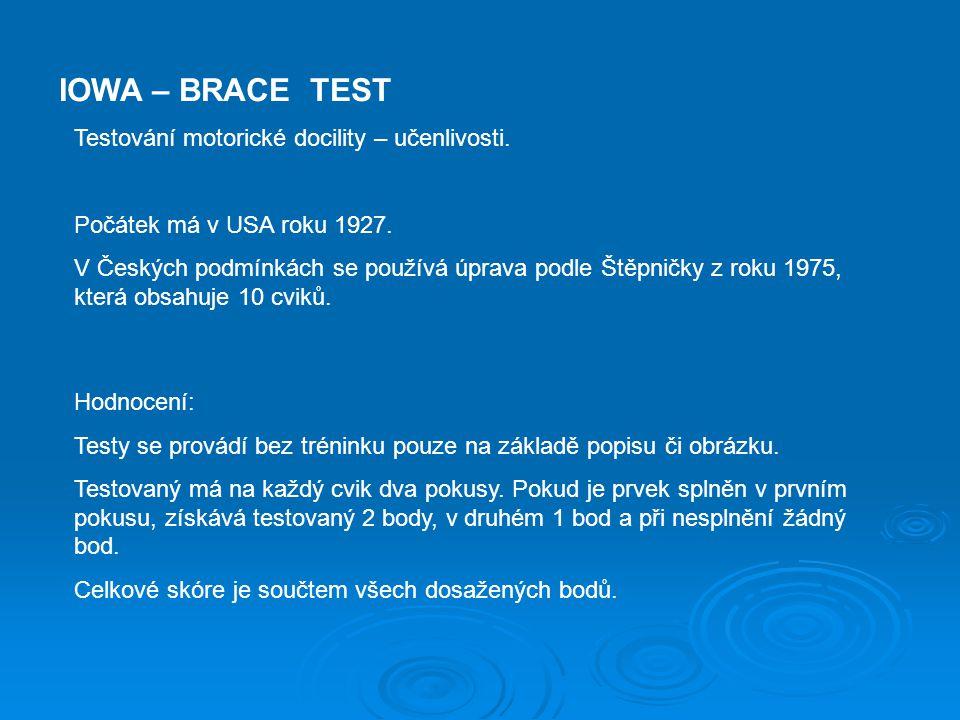 IOWA – BRACE TEST Testování motorické docility – učenlivosti. Počátek má v USA roku 1927. V Českých podmínkách se používá úprava podle Štěpničky z rok