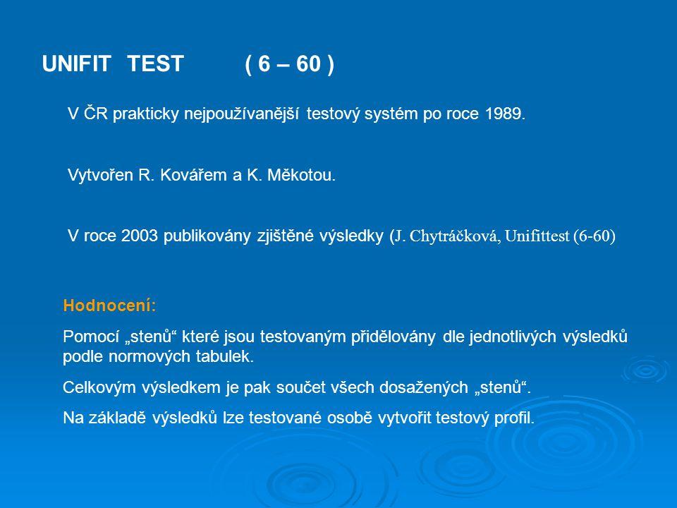"""UNIFIT TEST( 6 – 60 ) Hodnocení: Pomocí """"stenů"""" které jsou testovaným přidělovány dle jednotlivých výsledků podle normových tabulek. Celkovým výsledke"""