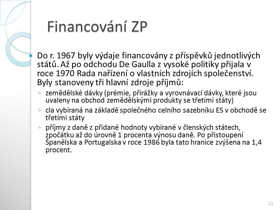 Financování ZP Do r. 1967 byly výdaje financovány z příspěvků jednotlivých států. Až po odchodu De Gaulla z vysoké politiky přijala v roce 1970 Rada n