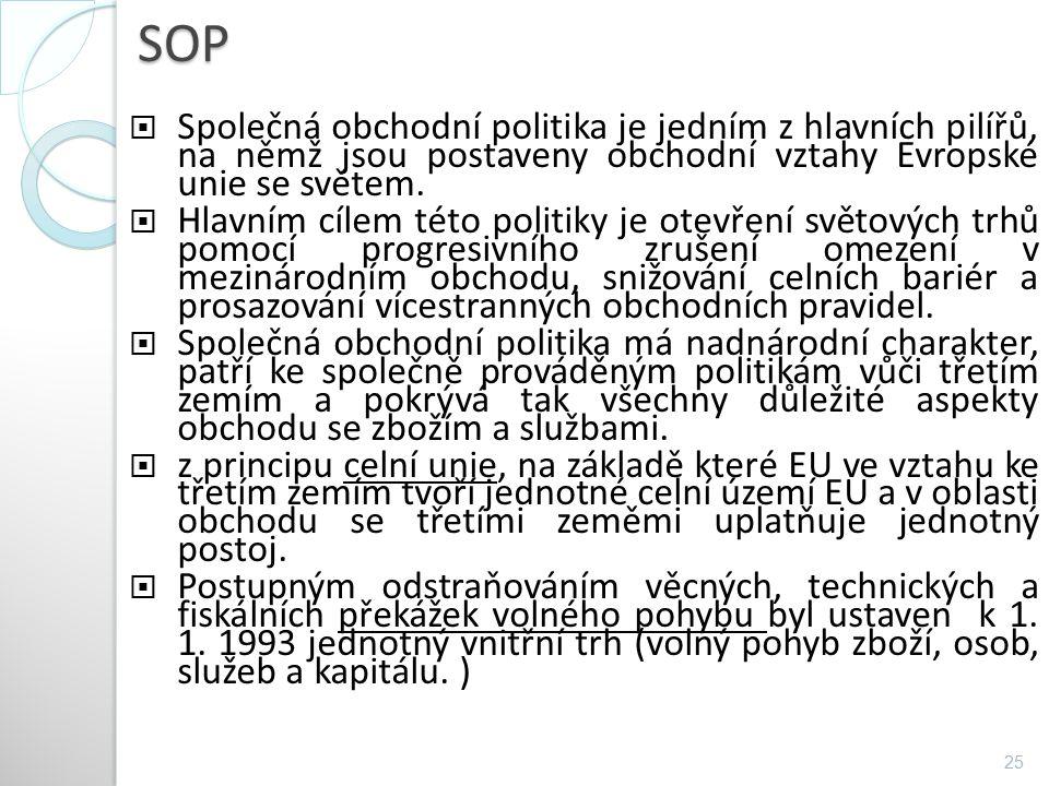 SOP SOP  Společná obchodní politika je jedním z hlavních pilířů, na němž jsou postaveny obchodní vztahy Evropské unie se světem.  Hlavním cílem této