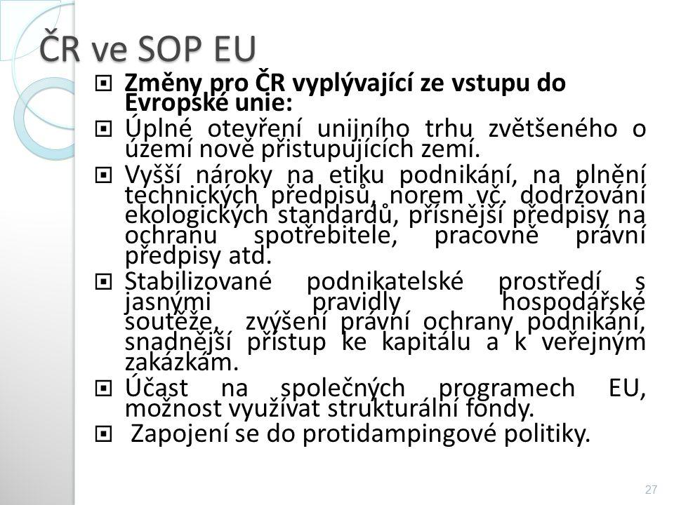 ČR ve SOP EU  Změny pro ČR vyplývající ze vstupu do Evropské unie:  Úplné otevření unijního trhu zvětšeného o území nově přistupujících zemí.  Vyšš