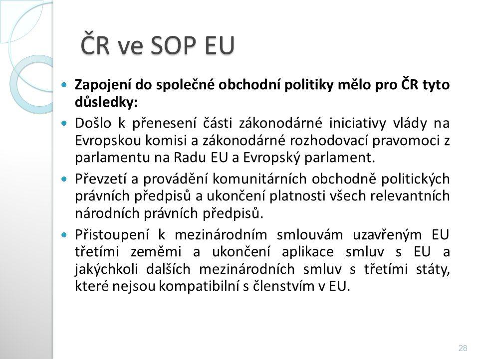 ČR ve SOP EU Zapojení do společné obchodní politiky mělo pro ČR tyto důsledky: Došlo k přenesení části zákonodárné iniciativy vlády na Evropskou komis