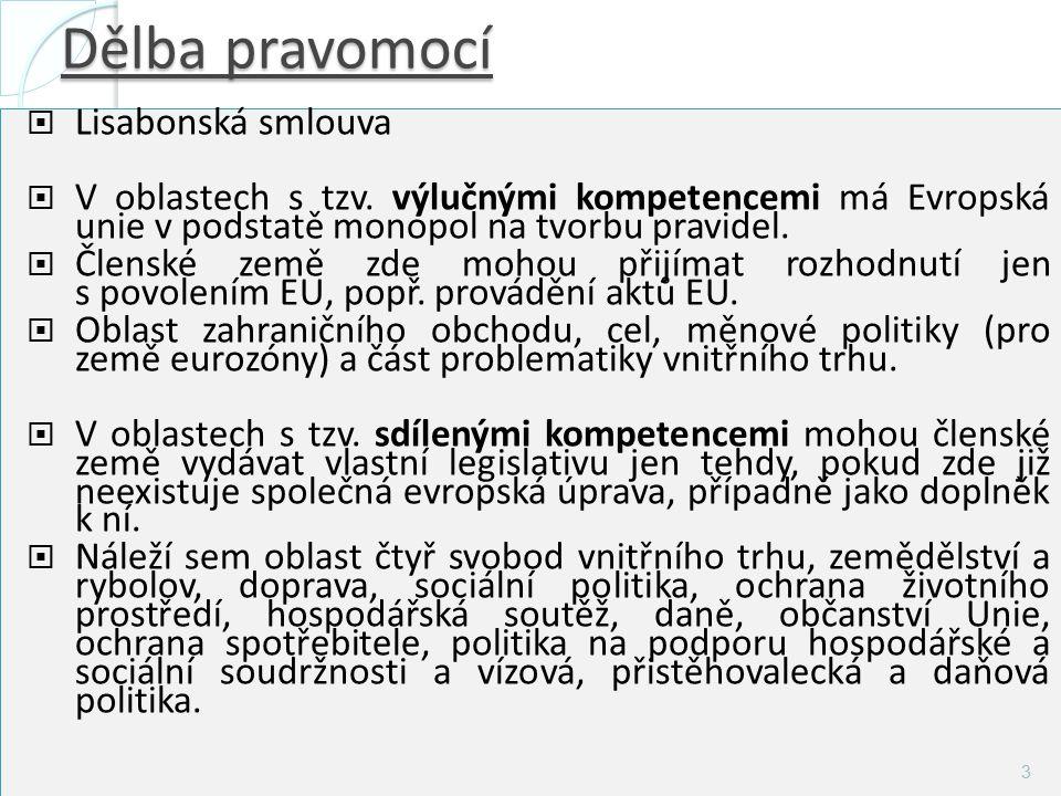 Dělba pravomocí  Koordinované politiky: čl.s. koordinují své hospod.