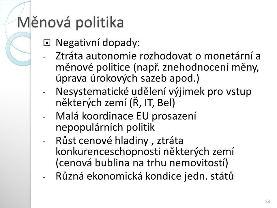 Měnová politika  Negativní dopady: - Ztráta autonomie rozhodovat o monetární a měnové politice (např. znehodnocení měny, úprava úrokových sazeb apod.