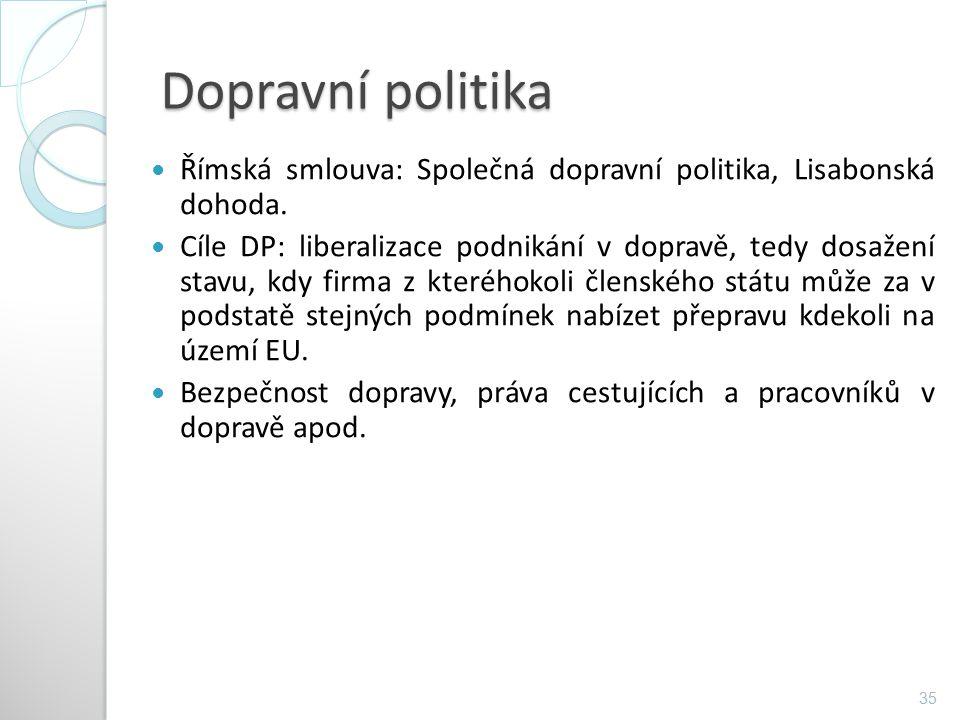 Dopravní politika Římská smlouva: Společná dopravní politika, Lisabonská dohoda. Cíle DP: liberalizace podnikání v dopravě, tedy dosažení stavu, kdy f