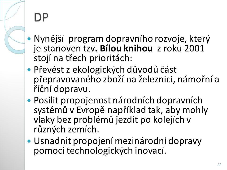 DP Nynější program dopravního rozvoje, který je stanoven tzv. Bílou knihou z roku 2001 stojí na třech prioritách: Převést z ekologických důvodů část p
