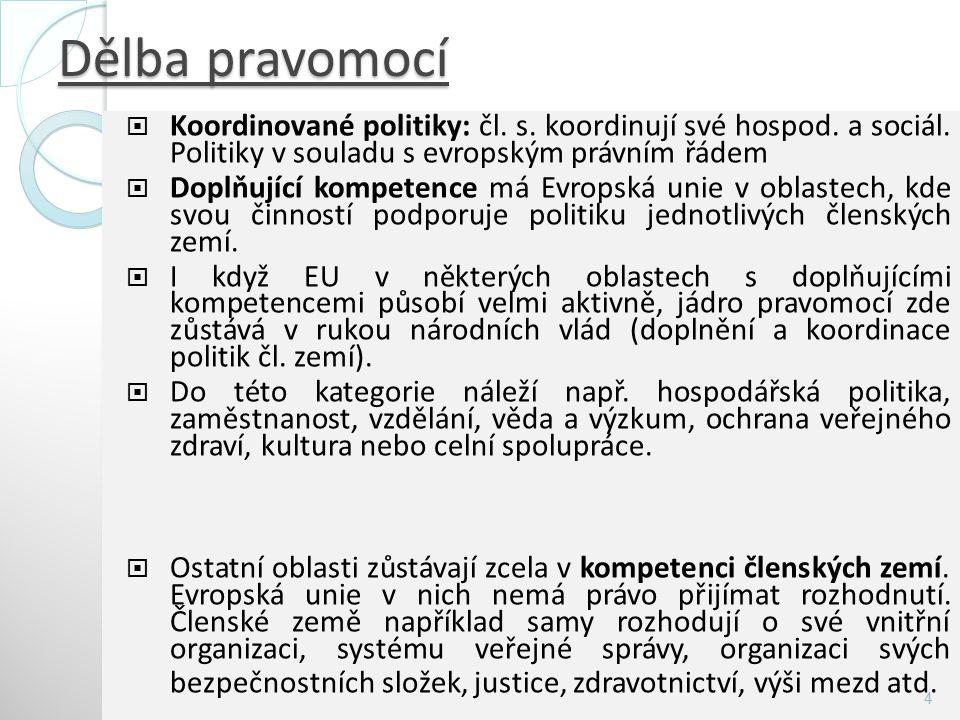 Dělba pravomocí  Koordinované politiky: čl. s. koordinují své hospod. a sociál. Politiky v souladu s evropským právním řádem  Doplňující kompetence