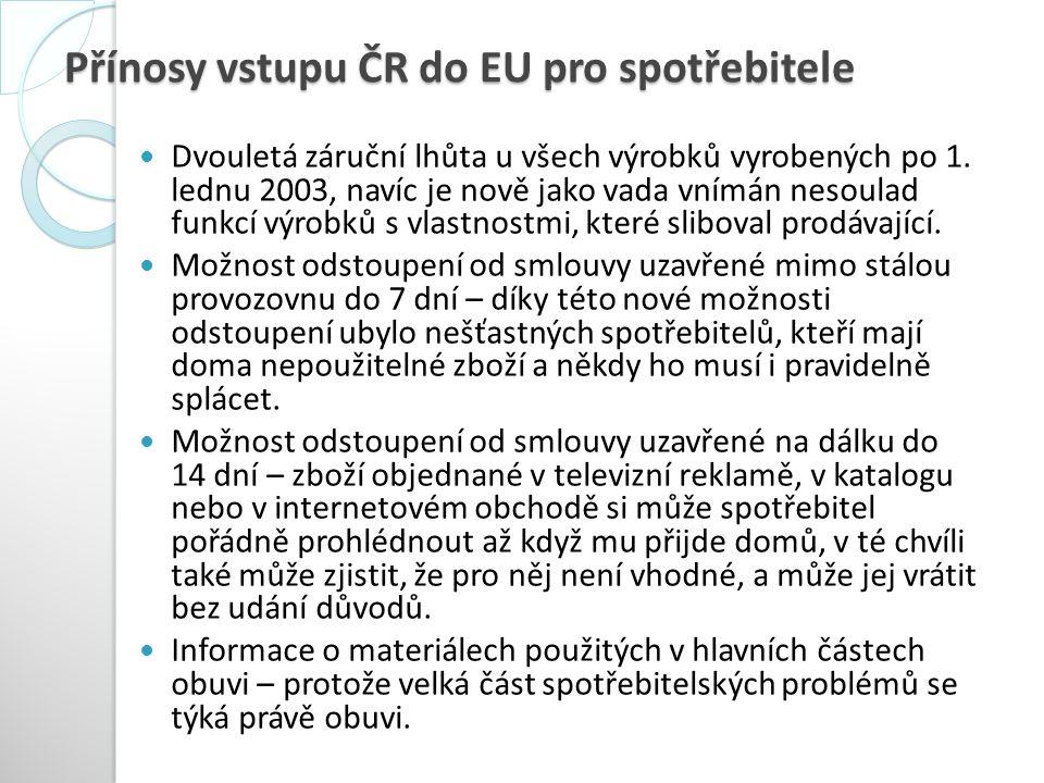 Přínosy vstupu ČR do EU pro spotřebitele Dvouletá záruční lhůta u všech výrobků vyrobených po 1. lednu 2003, navíc je nově jako vada vnímán nesoulad f