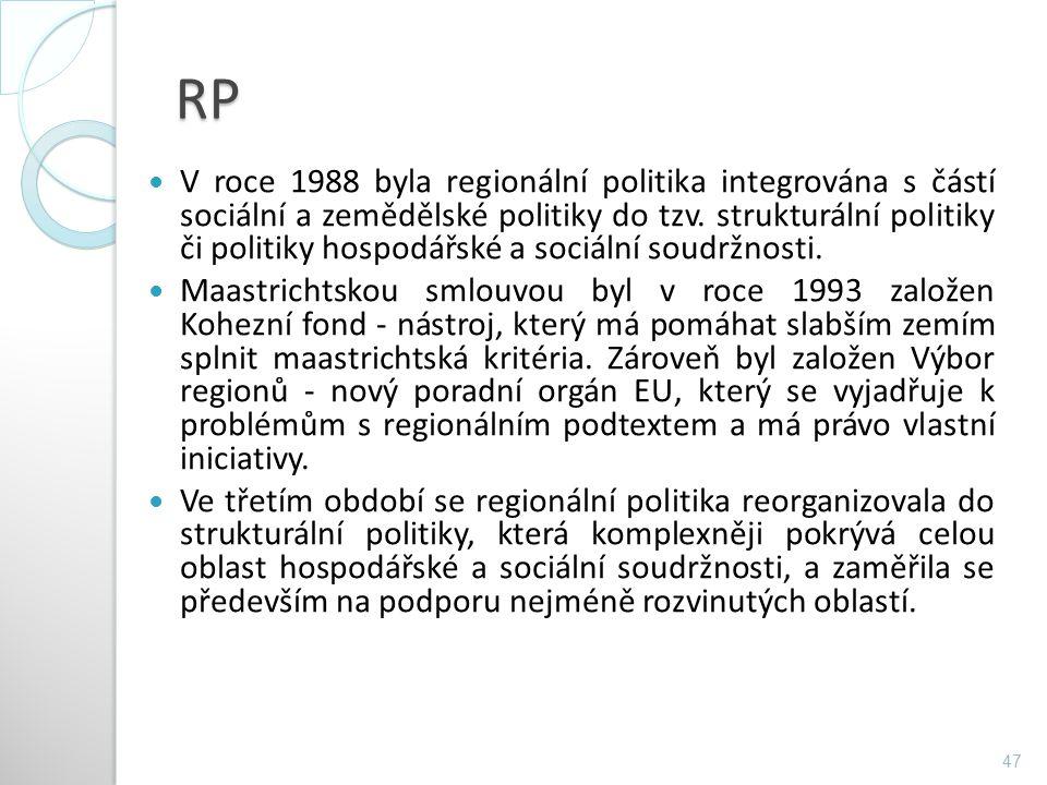 RP V roce 1988 byla regionální politika integrována s částí sociální a zemědělské politiky do tzv. strukturální politiky či politiky hospodářské a soc