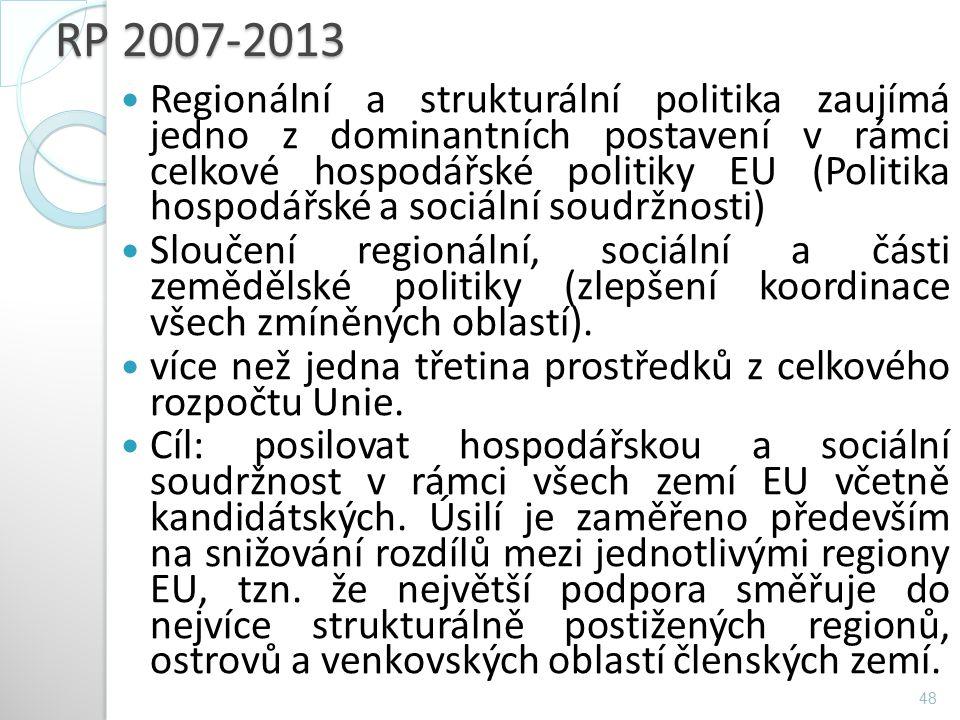 RP 2007-2013 Regionální a strukturální politika zaujímá jedno z dominantních postavení v rámci celkové hospodářské politiky EU (Politika hospodářské a