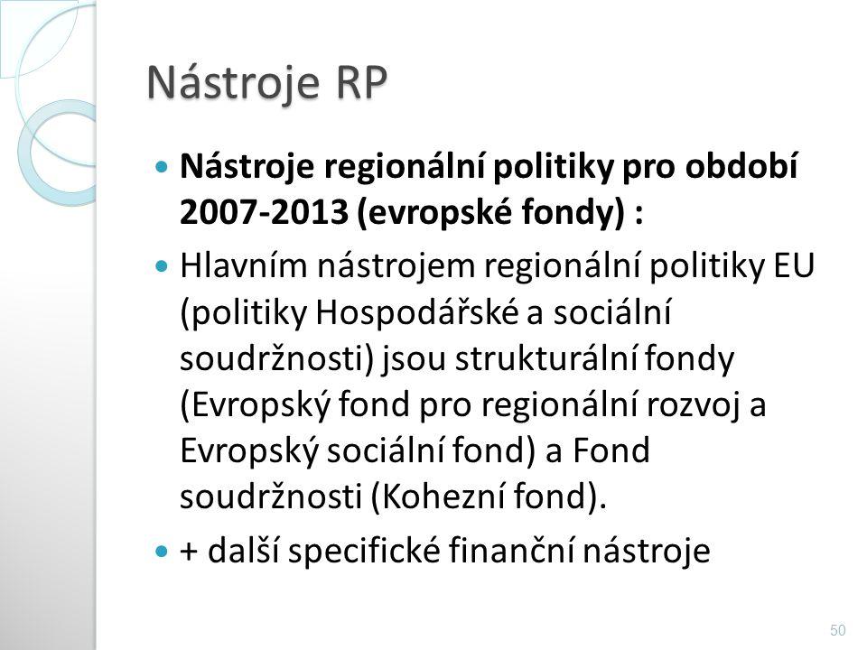 Nástroje RP Nástroje regionální politiky pro období 2007-2013 (evropské fondy) : Hlavním nástrojem regionální politiky EU (politiky Hospodářské a soci