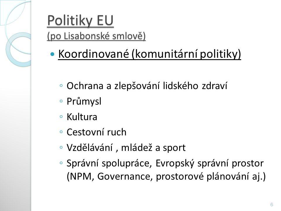 Politiky EU (po Lisabonské smlově) Koordinované (komunitární politiky) ◦ Ochrana a zlepšování lidského zdraví ◦ Průmysl ◦ Kultura ◦ Cestovní ruch ◦ Vz