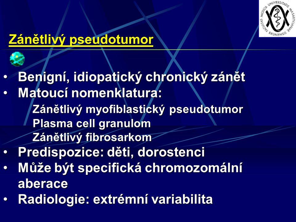 Zánětlivý pseudotumor Benigní, idiopatický chronický zánětBenigní, idiopatický chronický zánět Matoucí nomenklatura:Matoucí nomenklatura: Zánětlivý myofiblastický pseudotumor Plasma cell granulom Zánětlivý fibrosarkom Predispozice: děti, dorostenciPredispozice: děti, dorostenci Může být specifická chromozomální aberaceMůže být specifická chromozomální aberace Radiologie: extrémní variabilitaRadiologie: extrémní variabilita