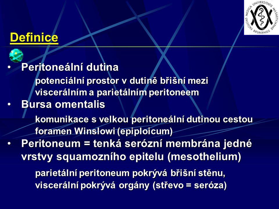 Definice Peritoneální dutinaPeritoneální dutina potenciální prostor v dutině břišní mezi viscerálním a parietálním peritoneem Bursa omentalisBursa omentalis komunikace s velkou peritoneální dutinou cestou foramen Winslowi (epiploicum) Peritoneum = tenká serózní membrána jedné vrstvy squamozního epitelu (mesothelium)Peritoneum = tenká serózní membrána jedné vrstvy squamozního epitelu (mesothelium) parietální peritoneum pokrývá břišní stěnu, viscerální pokrývá orgány (střevo = seróza)