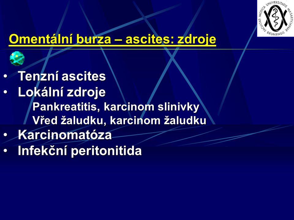 Omentální burza – ascites: zdroje Tenzní ascitesTenzní ascites Lokální zdrojeLokální zdroje Pankreatitis, karcinom slinivky Vřed žaludku, karcinom žaludku KarcinomatózaKarcinomatóza Infekční peritonitidaInfekční peritonitida