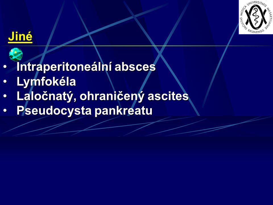 Jiné Intraperitoneální abscesIntraperitoneální absces LymfokélaLymfokéla Laločnatý, ohraničený ascitesLaločnatý, ohraničený ascites Pseudocysta pankreatuPseudocysta pankreatu