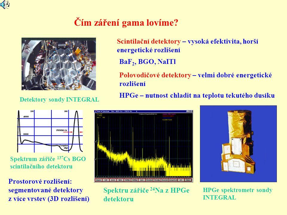 Čím záření gama lovíme? Detektory sondy INTEGRAL Scintilační detektory – vysoká efektivita, horší energetické rozlišení Polovodičové detektory – velmi