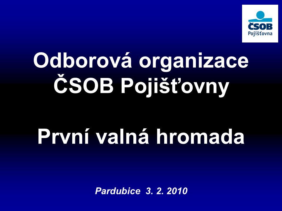 Odborová organizace ČSOB Pojišťovny První valná hromada Pardubice 3. 2. 2010
