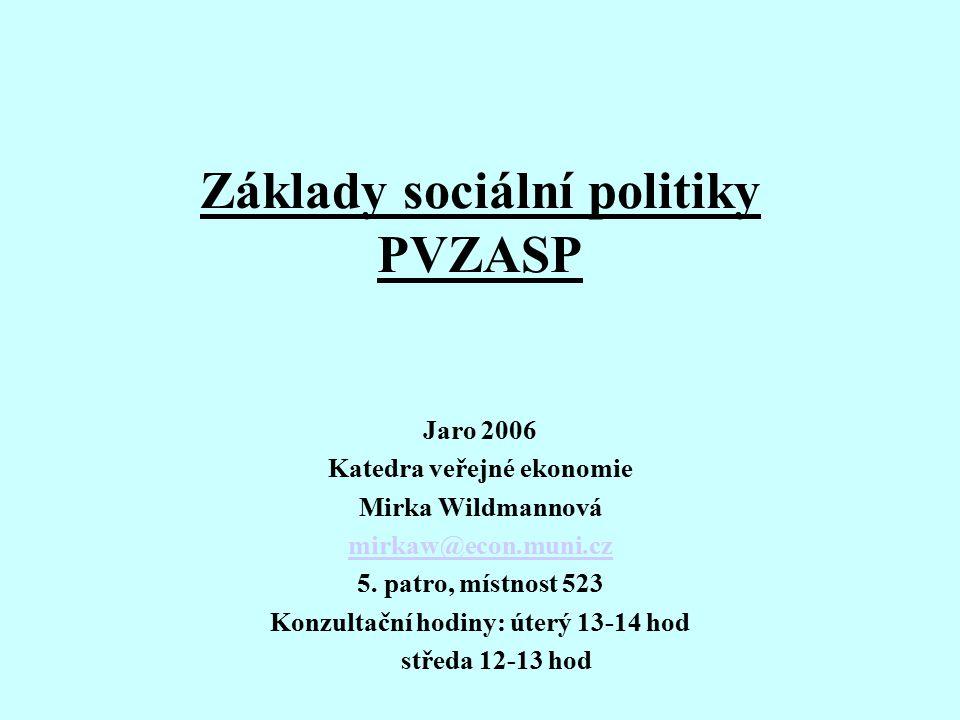 Základy sociální politiky PVZASP Jaro 2006 Katedra veřejné ekonomie Mirka Wildmannová mirkaw@econ.muni.cz 5. patro, místnost 523 Konzultační hodiny: ú