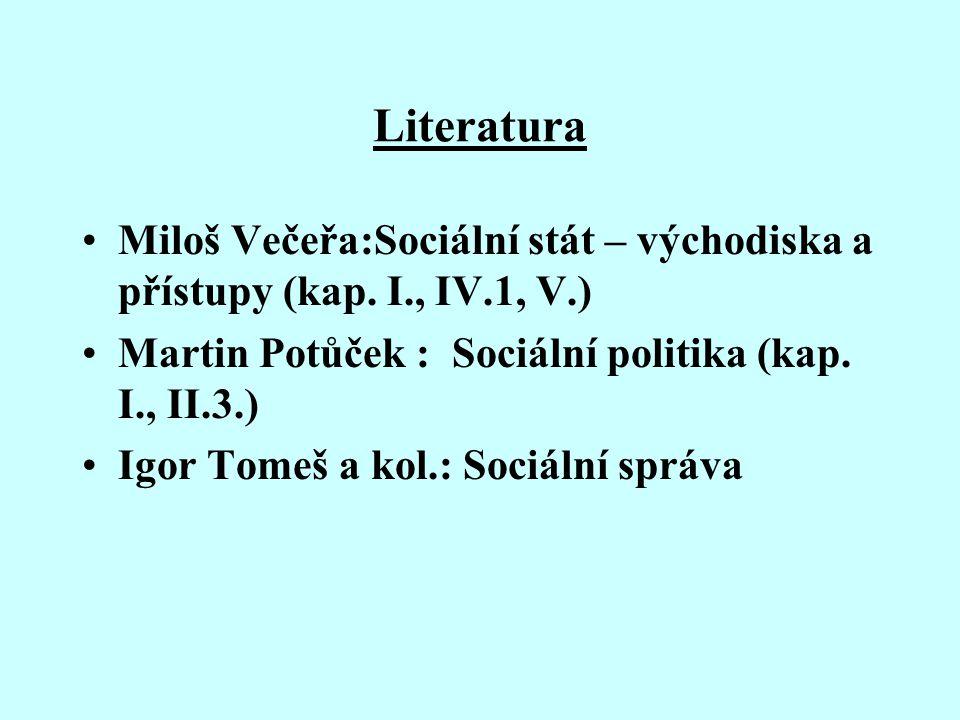 Literatura Miloš Večeřa:Sociální stát – východiska a přístupy (kap. I., IV.1, V.) Martin Potůček : Sociální politika (kap. I., II.3.) Igor Tomeš a kol